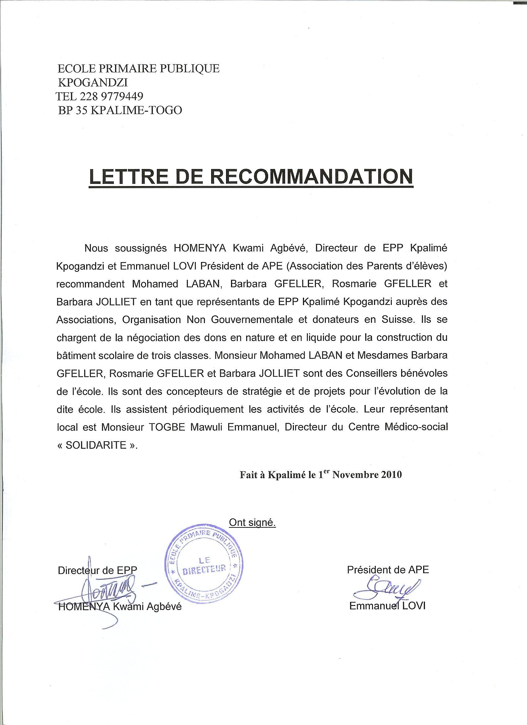 lettre de recommandation d une association Lettre De Recommandation Association | koffiemetzorg lettre de recommandation d une association